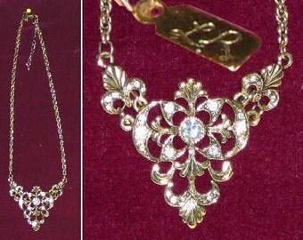 Signed Gold Toned Fillegree Rhinestone Necklace