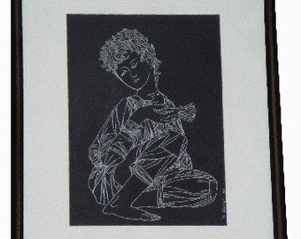GREEK BOY WITH BIRD FRAMED AND MATTED SCRATCHBOARD ART