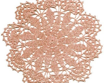 Dainty Coral Pink  Filet  Crocheted  Doily