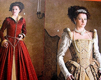 Historical Womens Renaissance Elizabethan Dress Pattern Gown Dress and Coat Woman Costume Sewing Pattern Adult 6 8 10 12 UNCUT