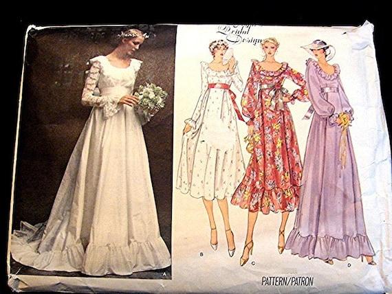 Vintage 1970s vogue wedding dress pattern empire waist chapel for Empire waist wedding dress patterns