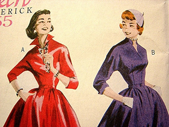 50s Dress Pattern RETRO 1955 Rockabilly Dress with Full Skirt Misses Size 8 10 12 14 Butterick UNCUT