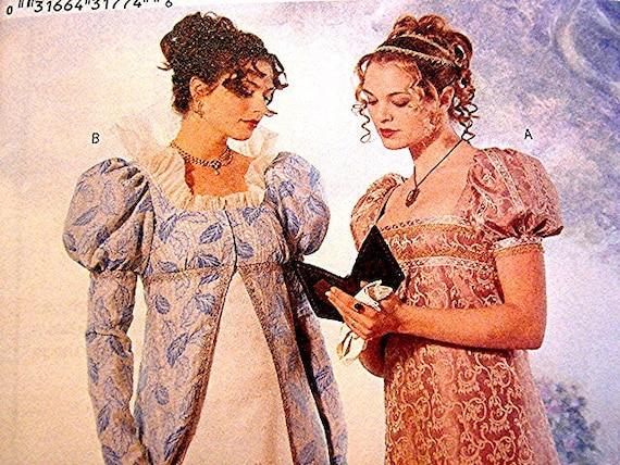 Historical Regency Georgian Womens Gown, Coat Dress Costume Pattern Butterick Misses size 12 UNCUT Empire waist Jane Austen Gown