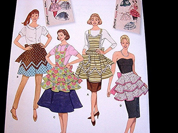 1950s Retro Apron Pattern - Simplicity Half Apron and Full Aprons Sewing Pattern size All Sizes UNCUT