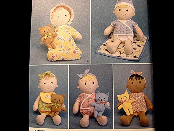 Simplicity Cloth Toddler Baby Doll Pattern With Mini Cat Or