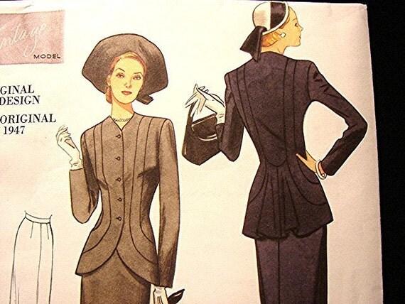 Retro 40s Vintage 1947 Vogue Model Misses Dress Pattern size 14 16 18 20 22 UNCUT