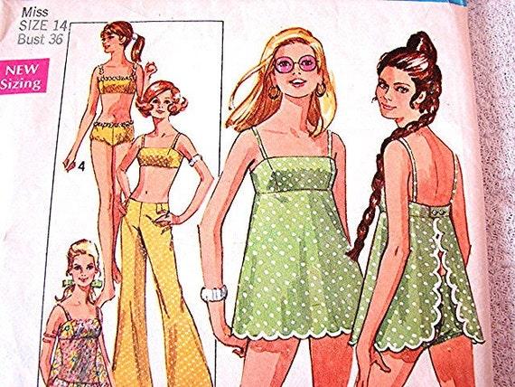 1960s Bathing Suit Pattern Misses Retro 60s 2 pc Bikini or Swim Suit with Hip-Hugger Pants size 14