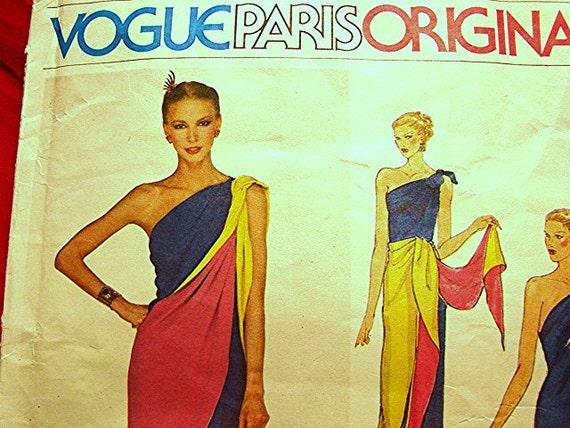 70s Chloe, Vogue Paris Original, Dress Pattern, Misses size 12, Uncut Off shoulder dress with tie shawl
