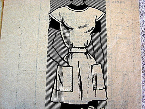 1950s Apron Pattern Anne Adams Misses size 14 16 Full Smock Apron