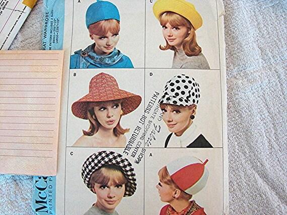 Womens 1960s Hat Pattern McCall's Uncut 60s Mod Hats Vintage Sewing Pattern
