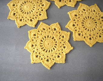 FOUR Sunshine Yellow Doily Coasters, Eco Friendly Home Decor, Recycled Cotton Yarn