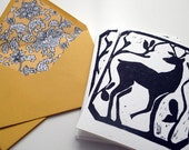 Set of 4 block printed A6 cards with custom lined envelopes