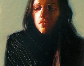 Original Oil Portrait Painting - That Black Feeling