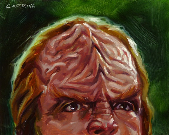 Star Trek TNG Worf Klingon - Original Oil Portrait Painting