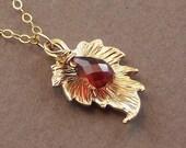 January Birthstone Garnet Necklace Gold Leaf Charm - Gold Gemstone Necklace Dew Drop - Handmade 2012 Fashion