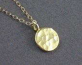 Circle Necklace Gold Vermeil Hammered Tag Charm Necklace Simple Modern 14K Chain - Office Fashion Bridal Bridesmaids