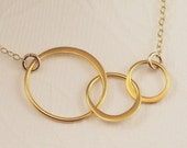 Past Present Future 3 Link Circle Necklace 14K Gold Filled Vermeil Circles - Baby Makes Three