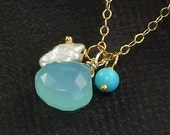 Turquoise Jewelry Chalcedony Charm Necklace Keishi Pearl Turquoise Aqua Beach Charms In Sterling Silver or 14K Gold Filled - Castaway
