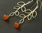 Carnelian Earrings Gold Branch Leaf  - Orange Tangerine - Handmade Autumn Halloween Fashion