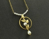 Cultured Pearl Vine And Leaves Circle Necklace  - Class Act - Handmade Winter Fashion
