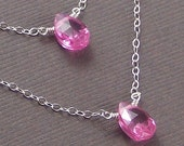 Pink Necklace Sterling Silver CZ Cubic Zirconia Two Strand Necklace - Double Dose Of Pink - Handmade Winter Fashion