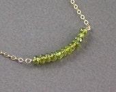 Vessonite Necklace Chain Interrupted By Gemstones  - Dorian Interrupted - Handmade Spring Fashion