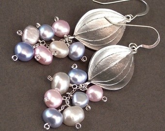 Pearl Earrings Flower Petals With Pastel Cultured Pearls Sterling Silver - Iris - Handmade Art Lovers Fashion