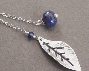 Sapphire Necklace Silver Leaf Blue Necklace Gemstone Necklace Lariat September Birthstone - Blue Berry - Handmade Party Fashion