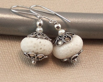 Large White Coral Earrings Ornate Caps- Marshmallow Dreams - Handmade Winter Fashion