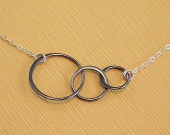 Circle Necklace Oxidized Sterling Silver Links  - Baby Makes Three - Past Present Future - Office Jewelry
