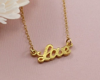 Celebrity Style Gold Love Charm Necklace Gold Filled Chain Girlfriend Gift - Handmade Love Fashion