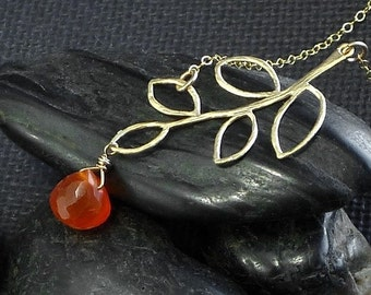 Carnelian Necklace Gold Branch Leaf  - Orange Tangerine ZionShore - Handmade Halloween Autumn Fashion