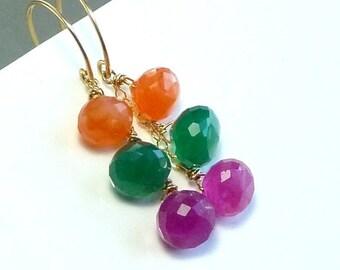 Carnelian Earrings, Green Onyx  Earrings, Pink Quartz Earrings, Citrus Punch Tropical Gemstone Earrings - Exotic Punch - Handmade Fashion