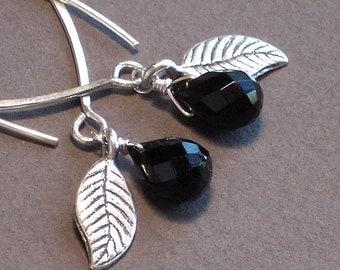 Black Onyx Earrings With Silver Leaves - Let's Go Dancing