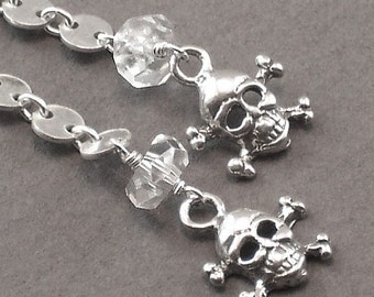 Skull Crossbone Earrings Disc Sterling Silver Chain Dangles  - Cold As Ice - Handmade Winter Fashion