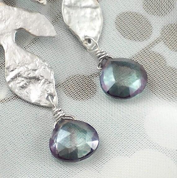 Mystic Blue Quartz Sterling Silver Gemstone Earrings White Gold Oak Leaves