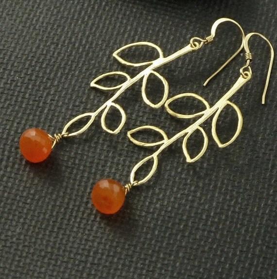 Carnelian Earrings Gold Branch Leaf  - Orange Tangerine - Handmade Autumn Halloween Fashion