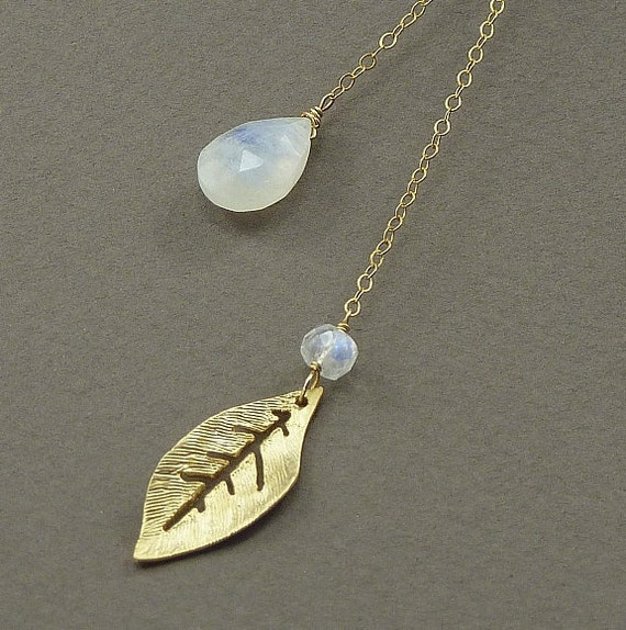 Rainbow Moonstone Lariat Necklace 14K Gold Filled Gold Leaf Charm Lariat Necklace - Handmade Winter Wedding Jewelry