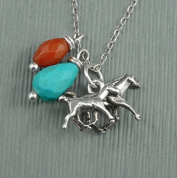 Equestrian Horse Charm Necklace Sterling Silver Turquoise And Red Coral Mare and Colt - Mothers Day Southwestern Style
