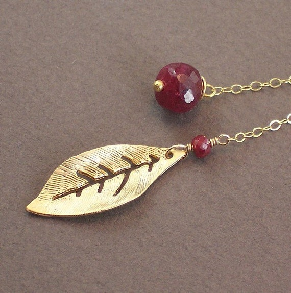 Red Ruby Necklace Gold Leaf Lariat  -  Juicy Berry - Handmade Winter Fashion