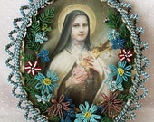 French Beaded Glass Flowers Saint Thérèse of Lisieux Framed Portrait Handmade