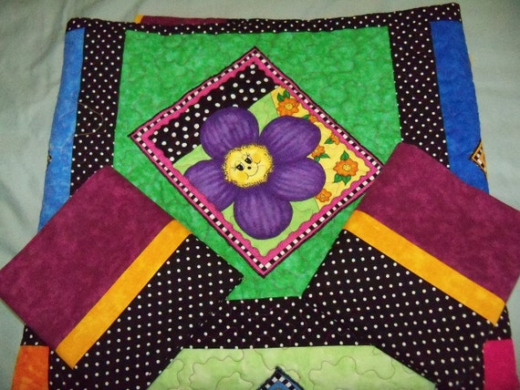 Polka Dots and Pansies Quilt Childrens Quilt Bedding Set Girls Room Bedding