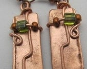 Copper  Earrings, Beaded, vintage copper wire wrapped.