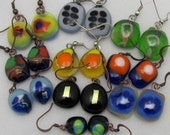 Wholesale Glass Earrings. Art Glass Earrings. Fused Glass Earrings.Set of 10.