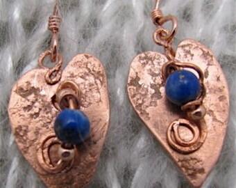 Copper Heart Earrings - Recycled  Vintage Copper Earrings. ONSALE.