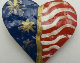 USA Patriotic Heart Pin. USA Flag Jewelry. Flag Pin.ONSALE.