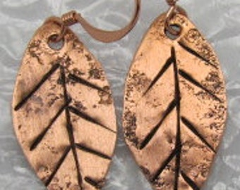 Copper Leaf Earrings. Birch Leaf Earrings. Leaf Earrings.ONSALE.