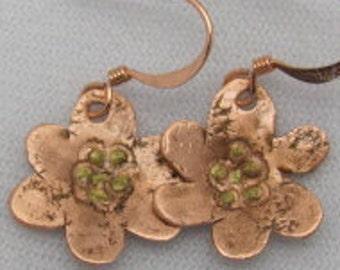 Copper Flower Earrings - Mothers  Earrings -  Dogwood Flower, Spring Earrings.