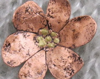Copper Flower Brooch  - Mothers  Pin-  Dogwood Flower Brooch.