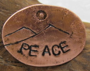 Copper Peace Pin. Steel Pin. Mountain Peace Pin - Oval Stamped Brooch.
